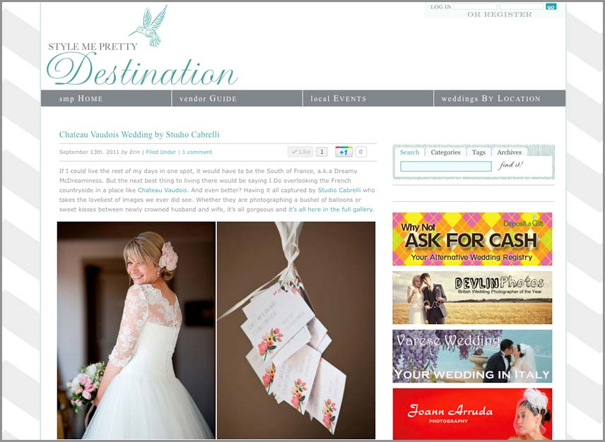 Publication Sur Le Wedding Blog Style Me Pretty